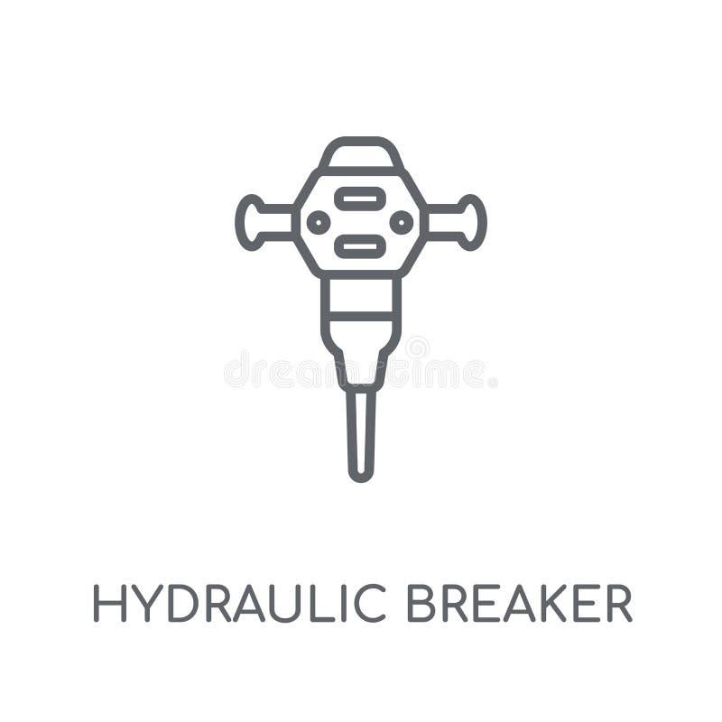 Lineare Ikone des hydraulischen Unterbrechers Hydraulischer Unterbrecher des modernen Entwurfs lizenzfreie abbildung