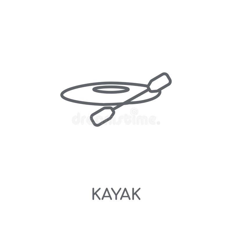 Lineare Ikone des Kajaks Modernes Entwurf Kajak-Logokonzept auf weißem Ba vektor abbildung