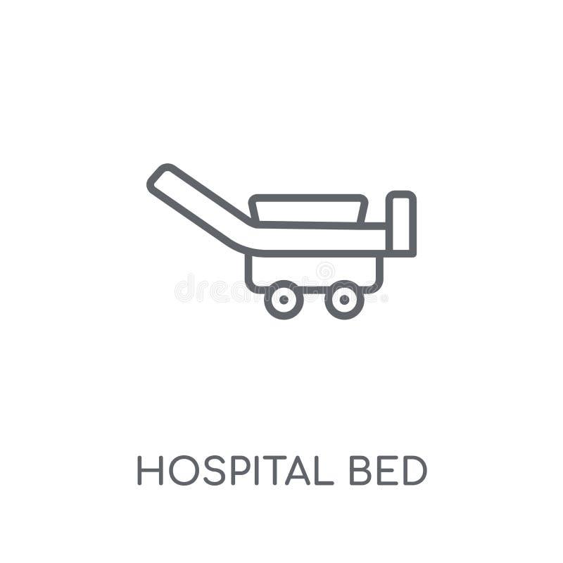 Lineare Ikone des Krankenhausbetts Modernes Entwurf Krankenhausbett-Logo conce lizenzfreie abbildung