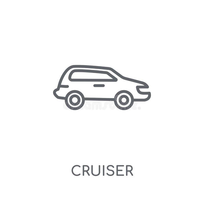Lineare Ikone des Kreuzers Modernes Entwurf Kreuzer-Logokonzept auf Whit vektor abbildung