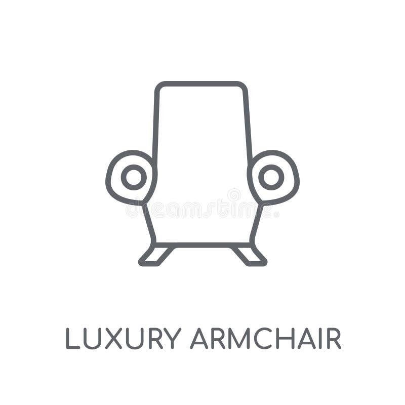 lineare Ikone des Luxuslehnsessels Moderner Entwurf Luxuslehnsessellogo lizenzfreie abbildung