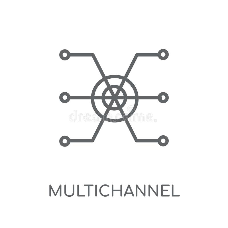 Lineare Ikone des Mehrkanalmarketings Moderner Entwurf Mehrkanal stock abbildung