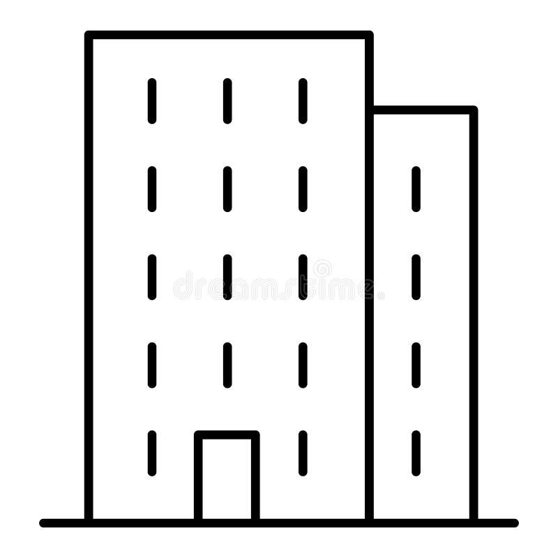 Lineare Ikone des mehrstöckigen Gebäudes Dünnes Zeilendarstellung des Apartmenthauses Turmblock-Konturnsymbol Vektor lokalisiert stock abbildung