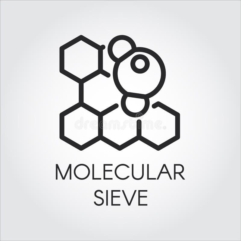 Lineare Ikone des Molekularsiebkonzeptes Reihenaufkleber von chemischen Formeln und von Mitteln Schwarzes Konturnbilddagramm lizenzfreie abbildung