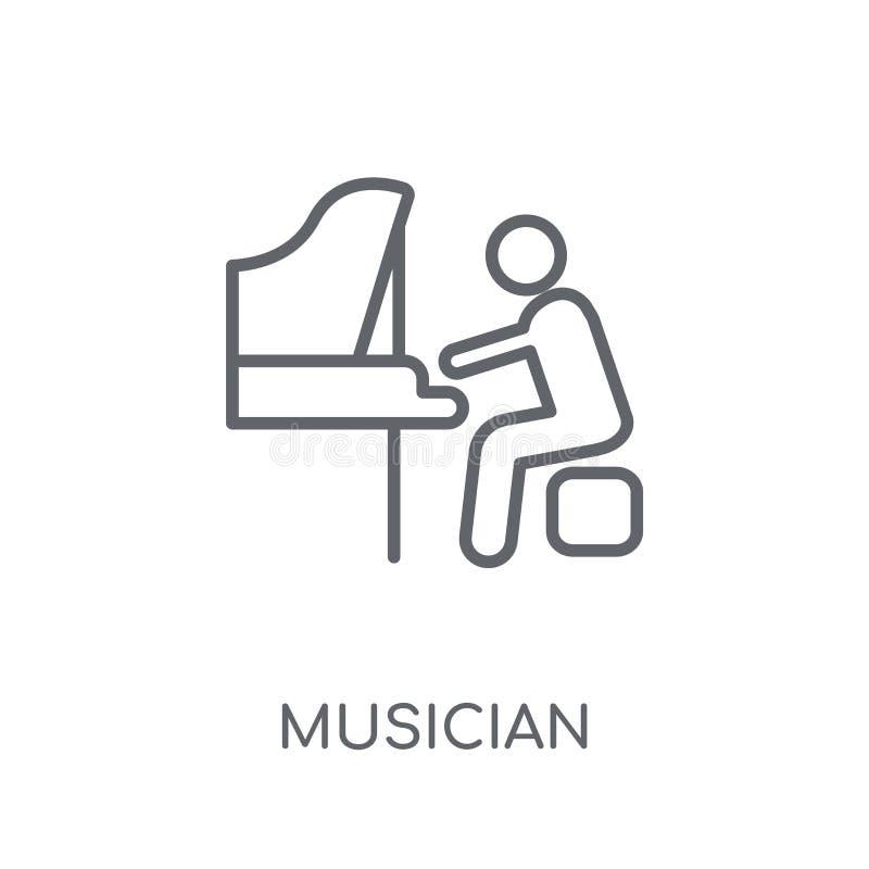 Lineare Ikone des Musikers Modernes Entwurf Musiker-Logokonzept auf wh stock abbildung