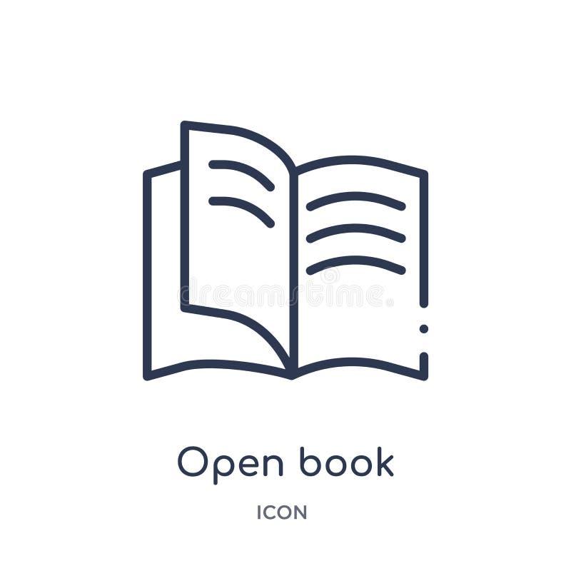 Lineare Ikone des offenen Buches von der Kundendienst-Entwurfssammlung Dünne Linie Vektor des offenen Buches lokalisiert auf weiß stock abbildung