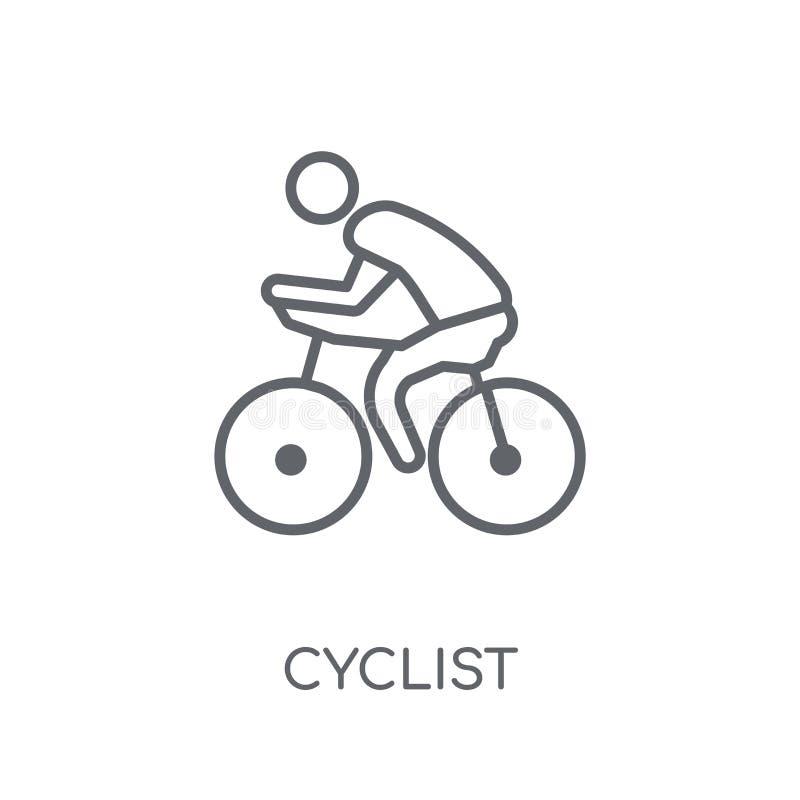 Lineare Ikone des Radfahrers Modernes Entwurf Radfahrer-Logokonzept auf Whit stock abbildung