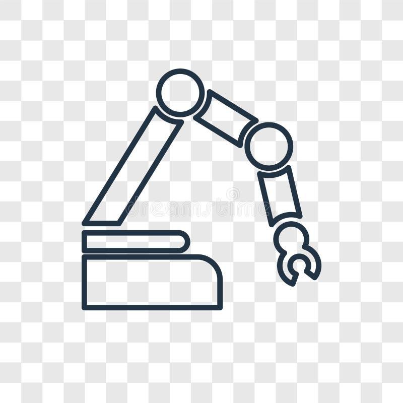 Lineare Ikone des Roboterkonzept-Vektors lokalisiert auf transparentem backgro vektor abbildung