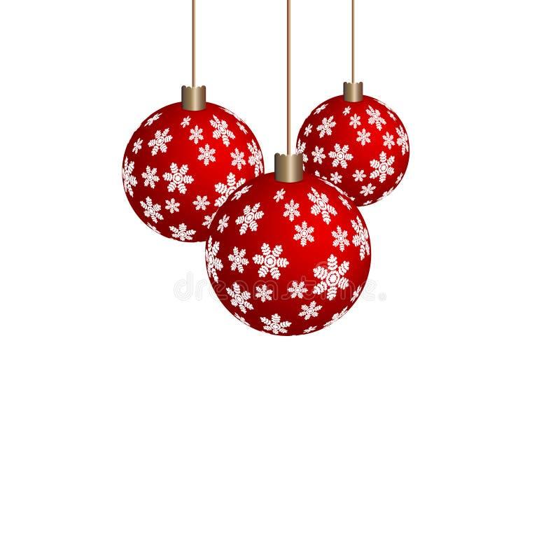 Lineare Ikone des roten Balls des Weihnachtsbaums Dünnes Zeilendarstellung Weihnachtsbaumflitter-Konturnsymbol lizenzfreie abbildung