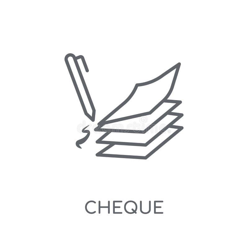 Lineare Ikone des Schecks Modernes Entwurf Scheck-Logokonzept auf Weiß lizenzfreie abbildung