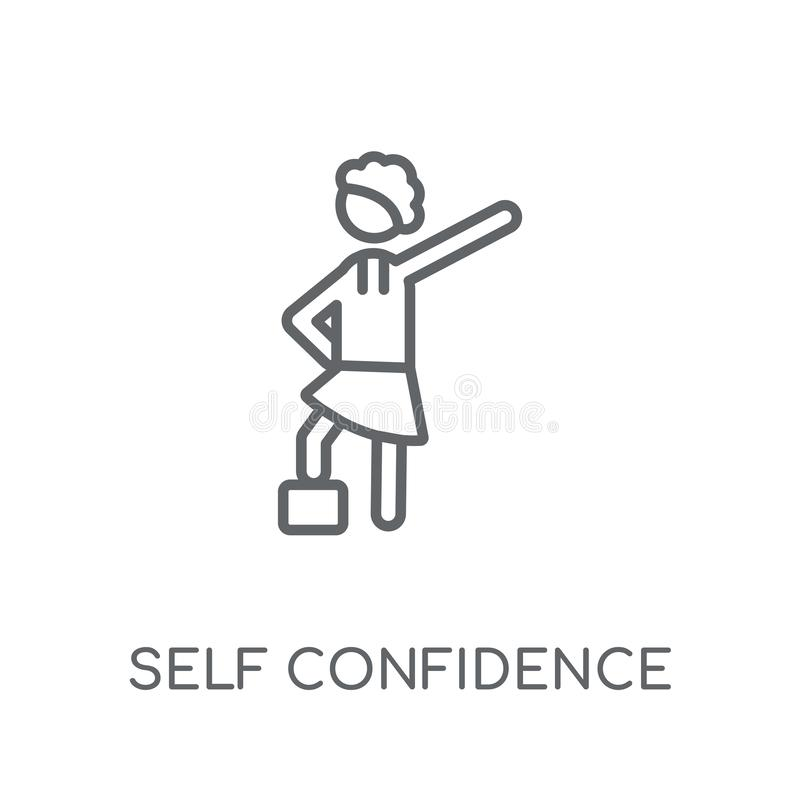 Lineare Ikone des Selbstvertrauens Modernes Entwurf Selbstvertrauenslogo stock abbildung