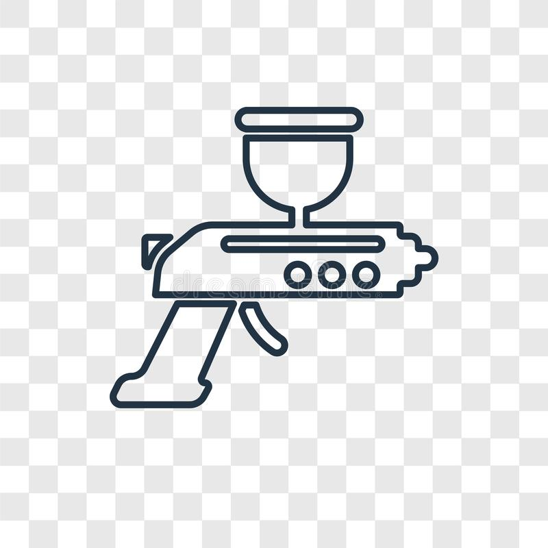 Lineare Ikone des Spritzpistolenkonzept-Vektors auf transparenter Rückseite vektor abbildung