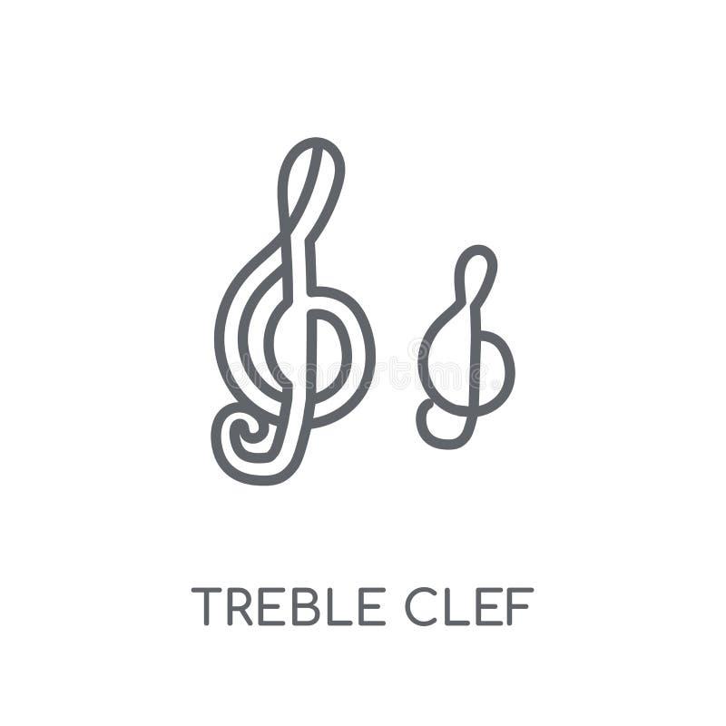 lineare Ikone des Violinschlüssels Modernes Entwurfsviolinschlüssel-Logokonzept stock abbildung