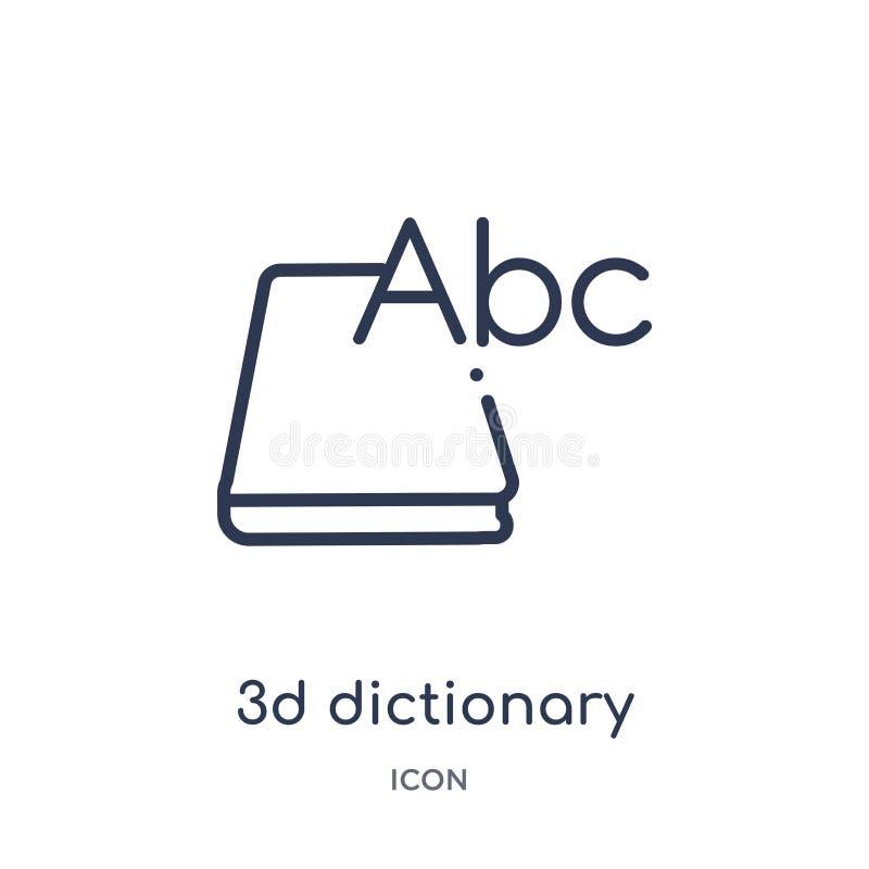 Lineare Ikone des Wörterbuches 3d von der Ausbildungsentwurfssammlung Dünne Linie 3d-Wörterbuchikone lokalisiert auf weißem Hinte lizenzfreie abbildung