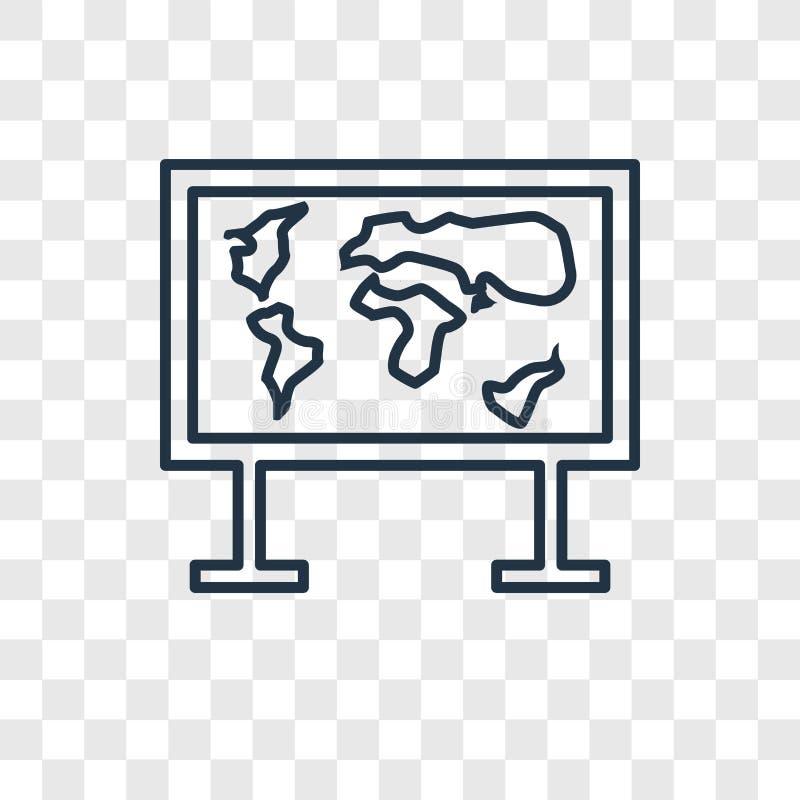 Lineare Ikone des Weltkartekonzept-Vektors auf transparentem BAC stock abbildung