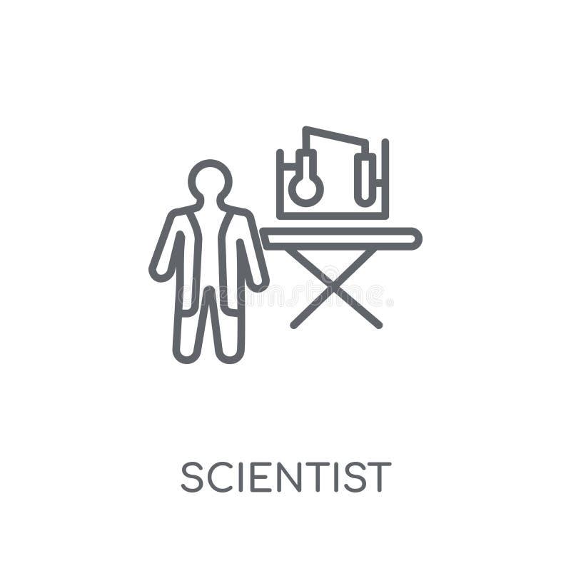 Lineare Ikone des Wissenschaftlers Modernes Entwurf Wissenschaftler-Logokonzept an stock abbildung