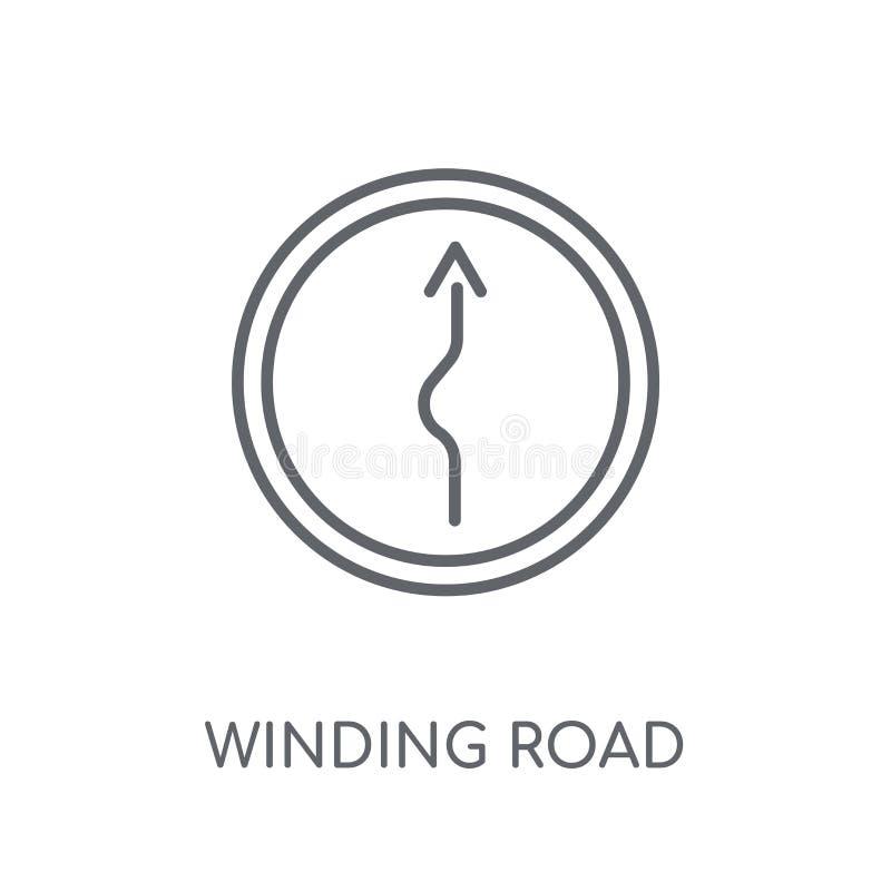 lineare Ikone des Zeichens der kurvenreichen Straße Modernes Zeichen der Entwurfskurvenreichen straße stock abbildung