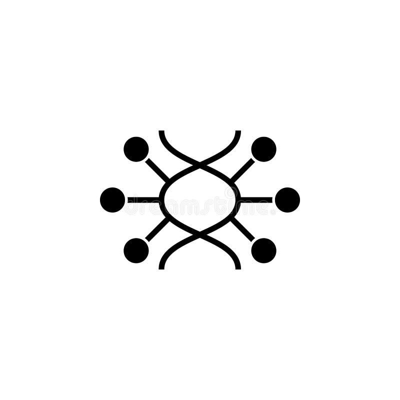 Lineare Ikone DNA-Vektors Dünne Linie DNA mit Molekülzeichen oder Logoelement Minimales Symbol der Biotechnologie vektor abbildung