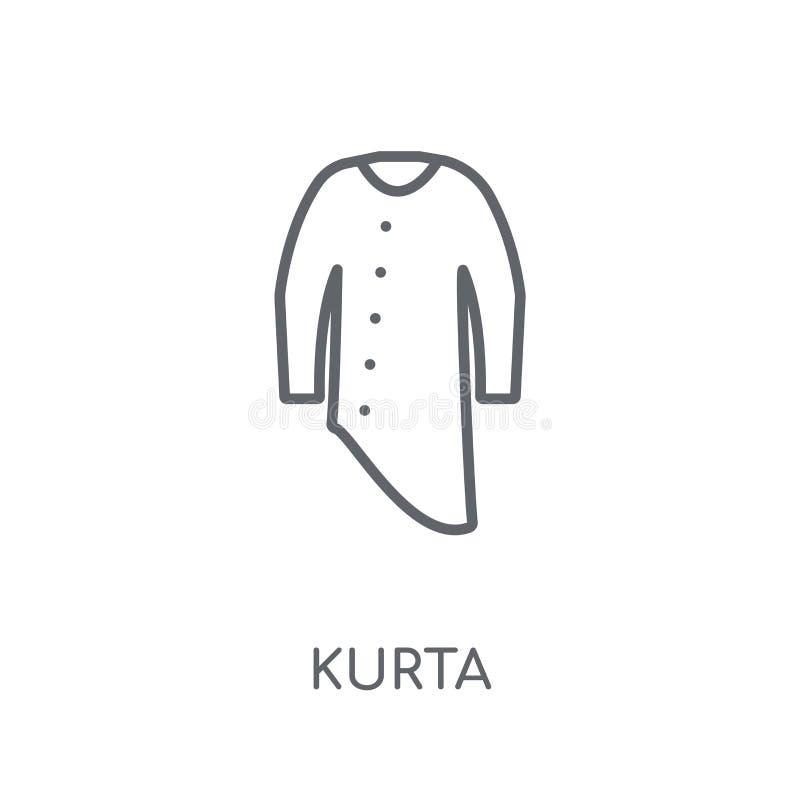 Lineare Ikone Kurta Modernes Entwurf Kurta-Logokonzept auf weißem Ba stock abbildung