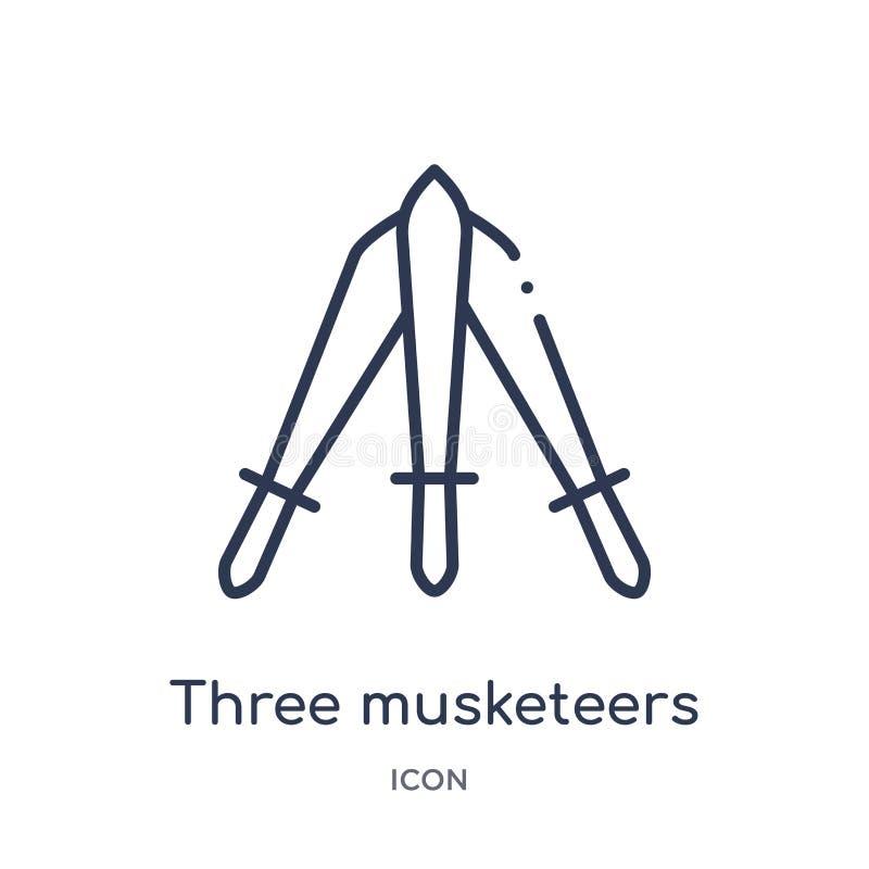 Lineare Ikone mit drei Musketieren von der Ausbildungsentwurfssammlung Dünne Linie drei Musketiervektor lokalisiert auf weißem Hi vektor abbildung