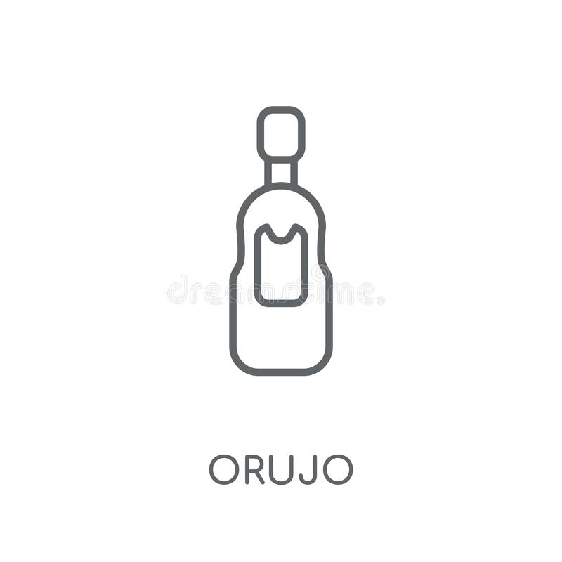 Lineare Ikone Orujo Modernes Entwurf Orujo-Logokonzept auf weißem Ba stock abbildung