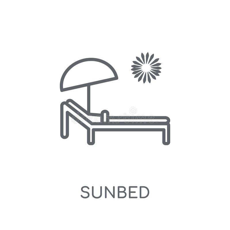 Lineare Ikone Sunbed Modernes Entwurf Sunbed-Logokonzept auf Weiß vektor abbildung