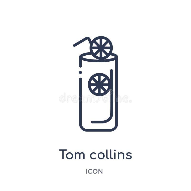 Lineare Ikone Toms Collins von der Getränkentwurfssammlung Dünne Linie Vektor Toms Collins lokalisiert auf weißem Hintergrund Tom stock abbildung