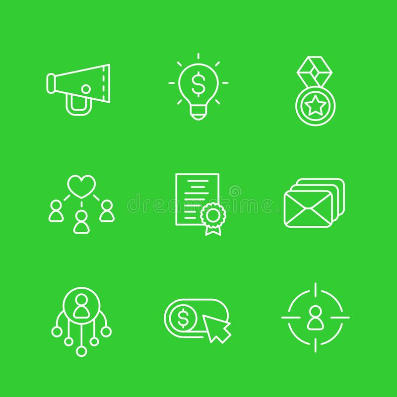 Lineare Ikonen Digital-Marketings vektor abbildung
