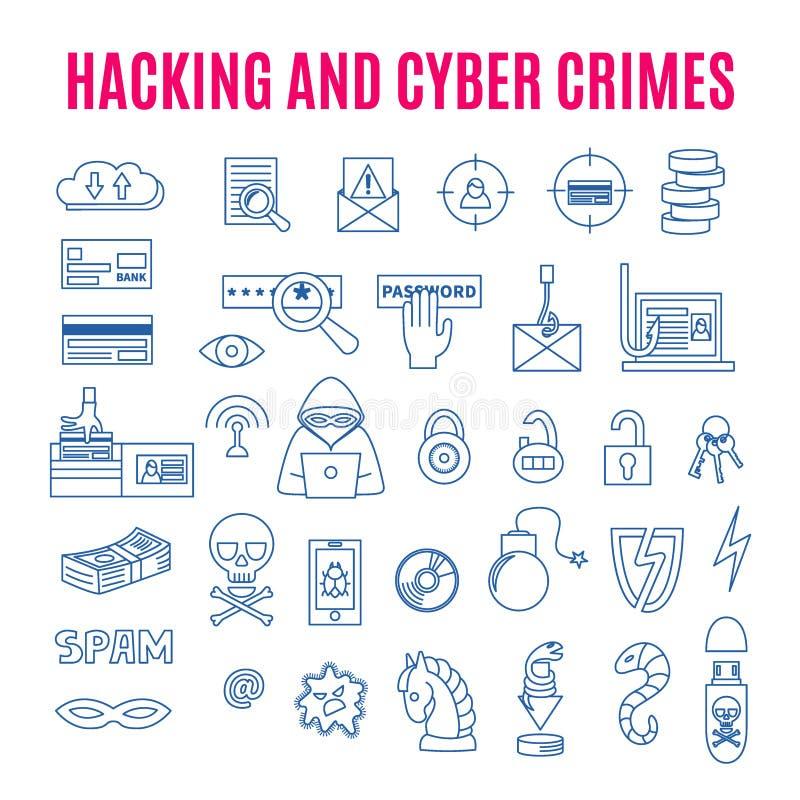 Lineare Ikonen von Computerkriminalitäten und Zerhacken stock abbildung