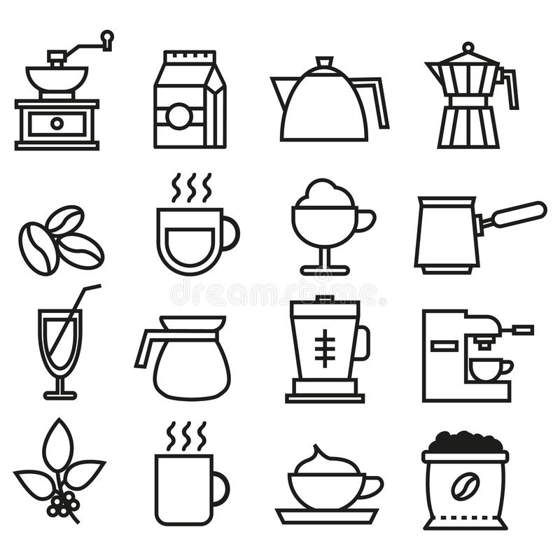 Lineare Ikonensammlung des Schwarzweiss-Kaffees Flache Ikonen des Kaffees eingestellt lizenzfreie stockbilder