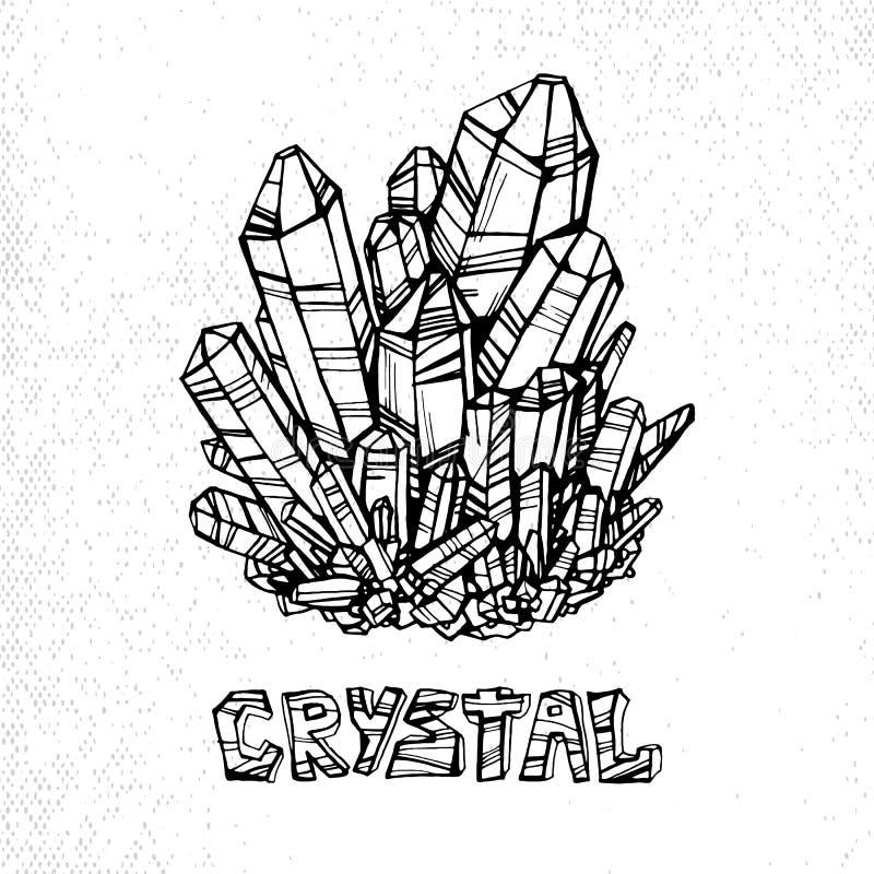Lineare Illustration des Kristalles mit der Aufschrift auf einem weißen Hintergrund Element für Entwurf vektor abbildung