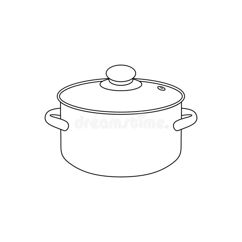 Lineare Illustration des Vektors eines Topfes stock abbildung