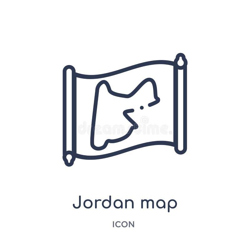 Lineare Jordanien-Kartenikone von der Countrymaps-Entwurfssammlung Dünne Linie Jordanien-Kartenvektor lokalisiert auf weißem Hint lizenzfreie abbildung