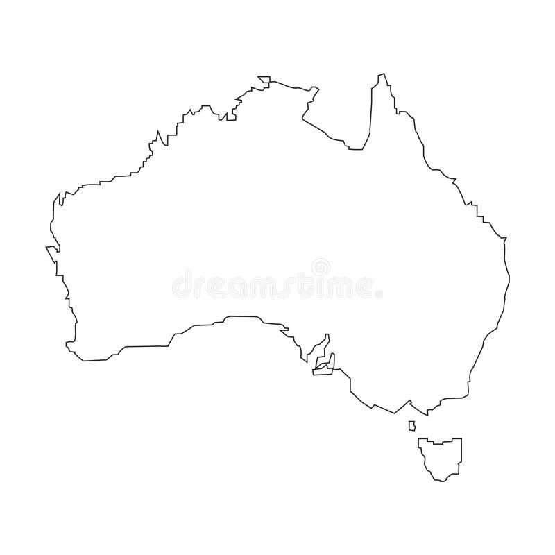 Lineare Karte Australiens auf einem weißen Hintergrund Auch im corel abgehobenen Betrag stock abbildung