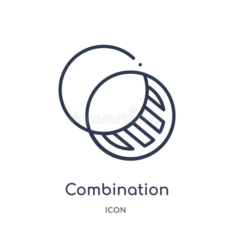 Lineare Kombinationsikone von der Ausbildungsentwurfssammlung Dünne Linie Kombinationsikone lokalisiert auf weißem Hintergrund ko lizenzfreie abbildung