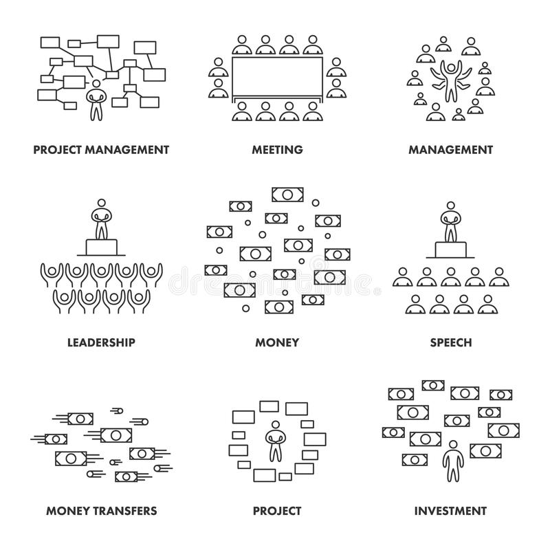 Lineare Konzepte für Sitzungen, Management und Investition vektor abbildung