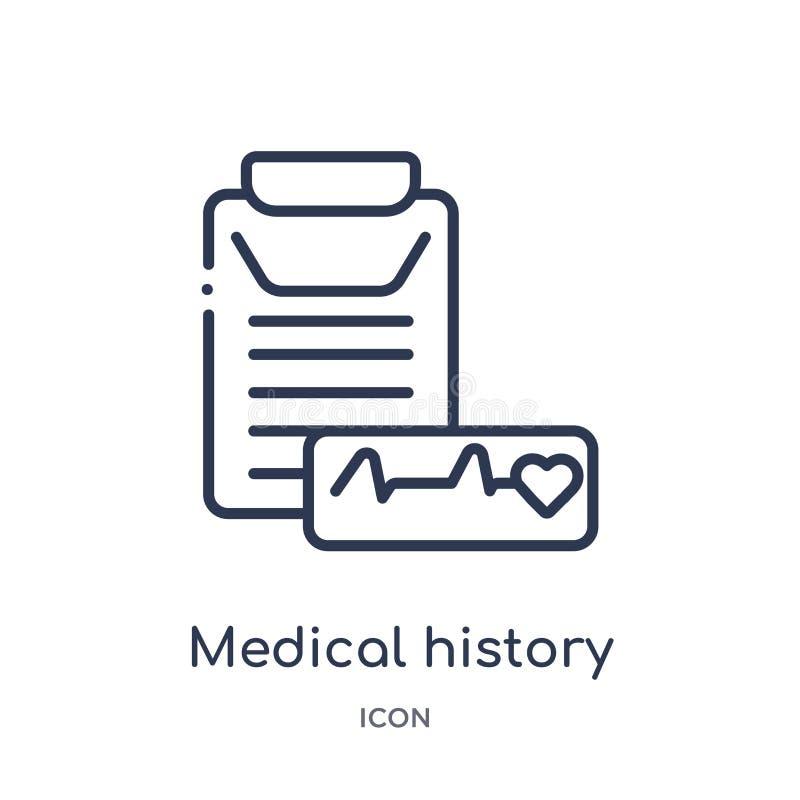 Lineare Krankengeschichteikone von der medizinischen Entwurfssammlung Dünne Linie Krankengeschichteikone lokalisiert auf weißem H stock abbildung