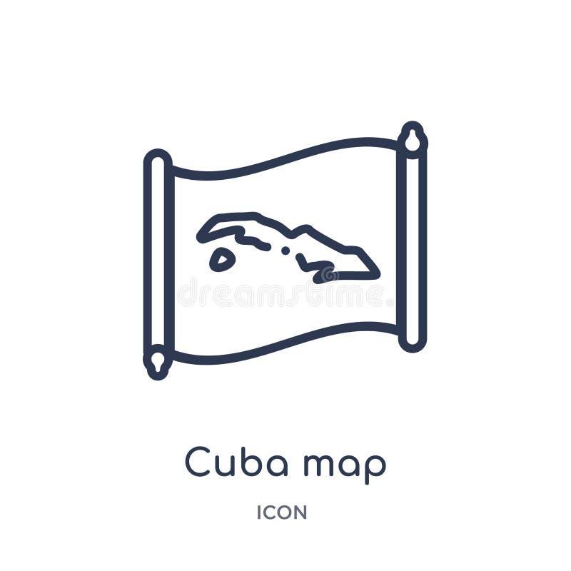 Lineare Kuba-Kartenikone von der Countrymaps-Entwurfssammlung Dünne Linie Kuba-Kartenvektor lokalisiert auf weißem Hintergrund Ku stock abbildung