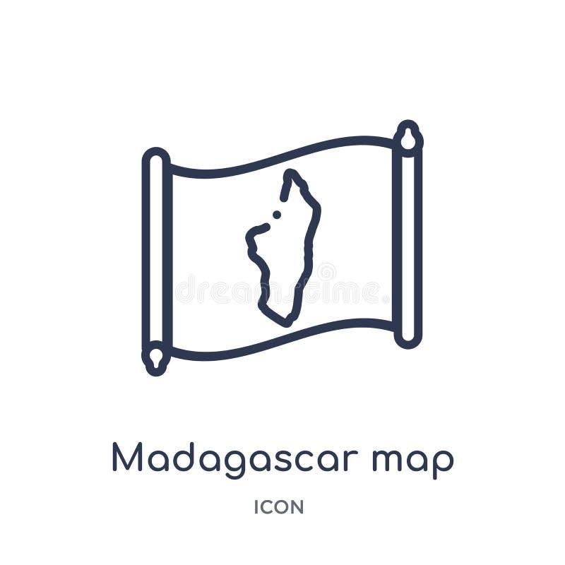 Lineare Madagaskar-Kartenikone von der Countrymaps-Entwurfssammlung Dünne Linie Madagaskar-Kartenvektor lokalisiert auf weißem Hi vektor abbildung