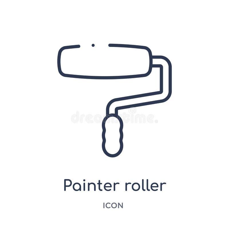 Lineare Malerrollenikone von der Bauwerkzeug-Entwurfssammlung Dünne Linie Malerrollenvektor lokalisiert auf Weiß vektor abbildung
