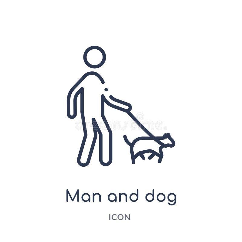 Lineare Mann- und Hundeikone von der Verhaltenentwurfssammlung Dünne Linie Mann und Hundevektor lokalisiert auf weißem Hintergrun lizenzfreie abbildung
