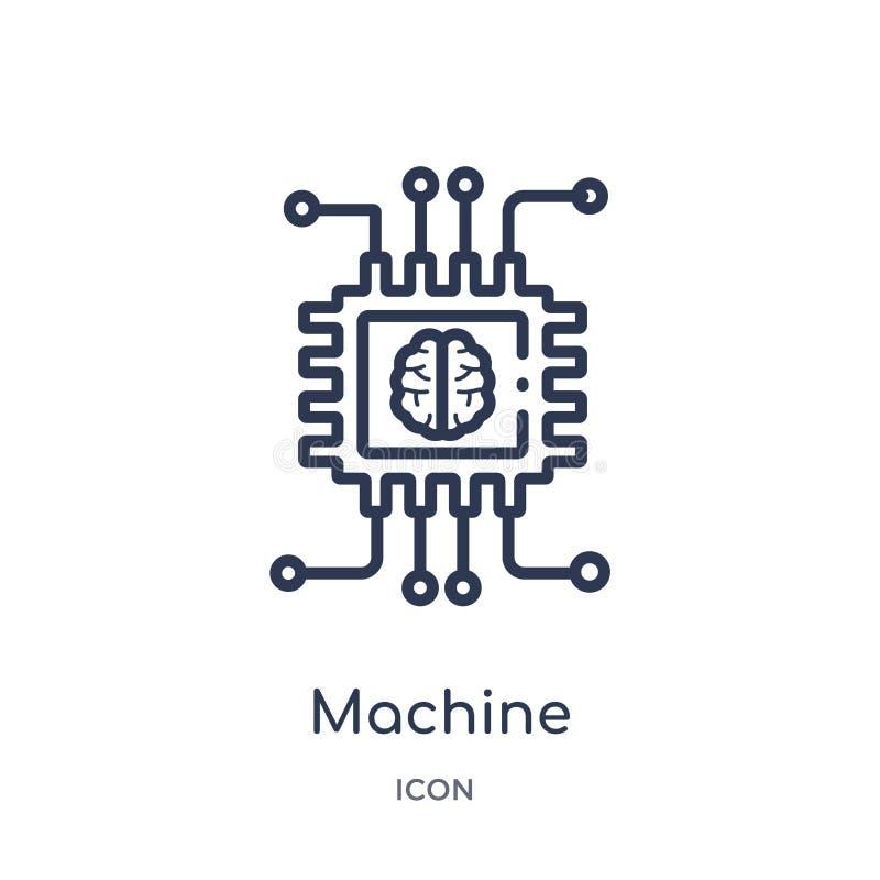 Lineare Maschinenikone vom künstlichen intellegence und von der zukünftigen Technologieentwurfssammlung Dünne Linie Maschinenvekt stock abbildung