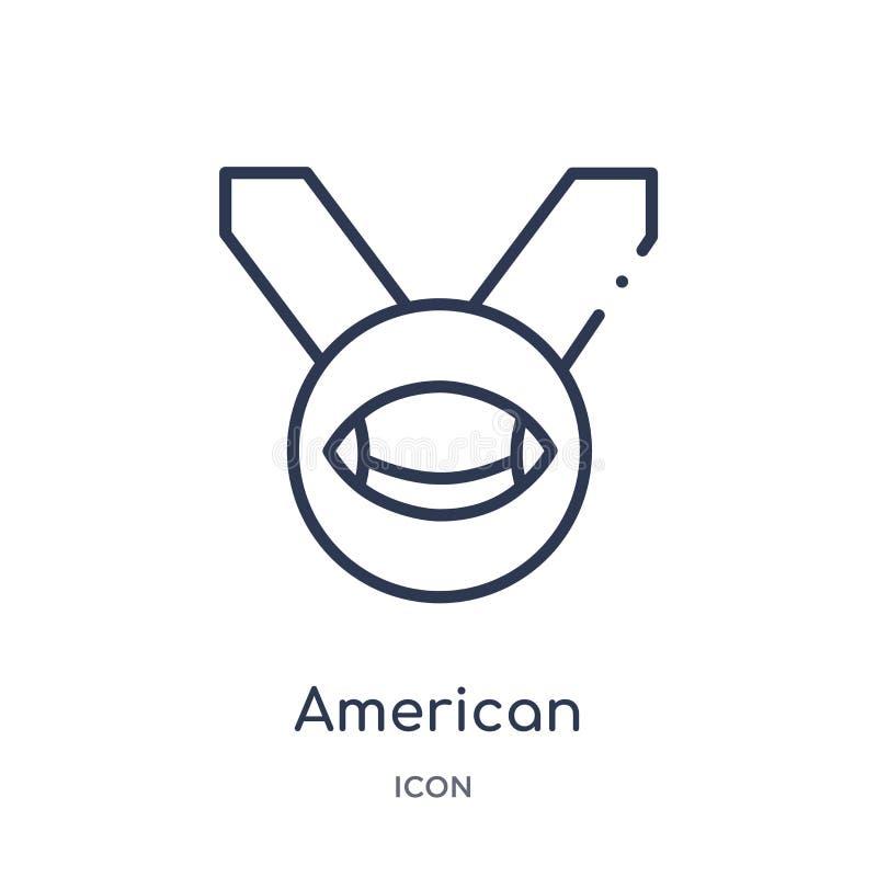 Lineare Medaillenikone des amerikanischen Fußballs von der Entwurfssammlung des amerikanischen Fußballs Dünne Linie Medaillenvekt lizenzfreie abbildung