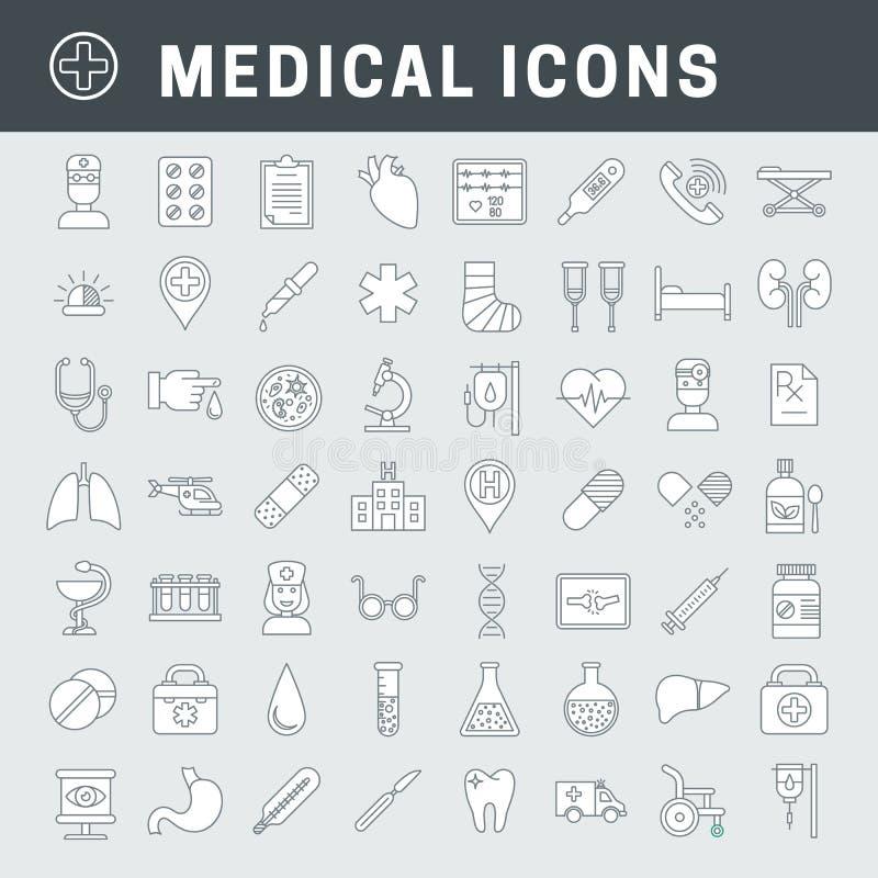 Lineare medizinische Ikonen mit Fülle stock abbildung