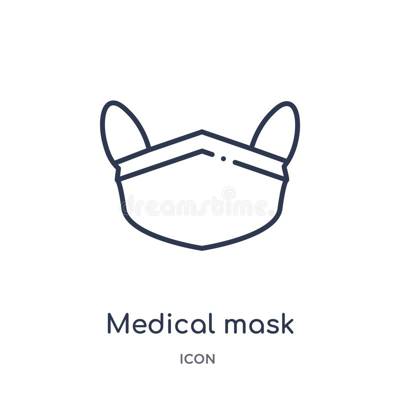 Lineare medizinische Maskenikone von der Gesundheit und von der medizinischen Entwurfssammlung Dünne Linie medizinische Maskeniko lizenzfreie abbildung