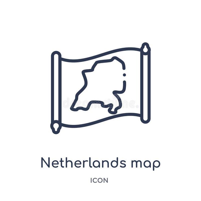 Lineare niederländische Kartenikone von der Countrymaps-Entwurfssammlung Dünne Linie die Niederlande-Kartenvektor lokalisiert auf stock abbildung