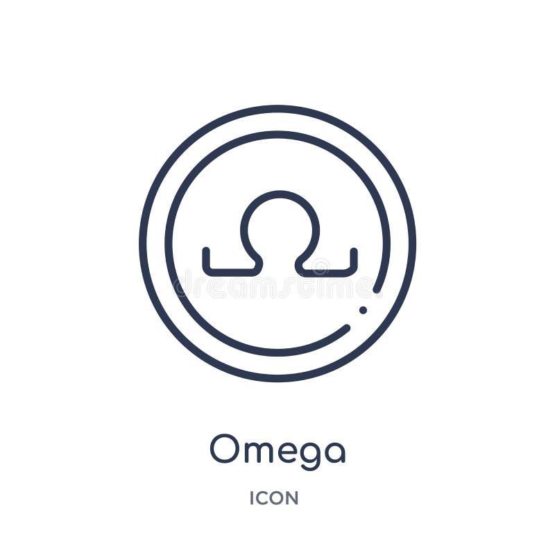 Lineare Omega-Ikone von der Griechenland-Entwurfssammlung Dünne Linie Omega-Ikone lokalisiert auf weißem Hintergrund modische Ill stock abbildung