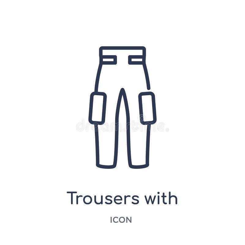 _lineare pantalone con laterale tasca icona modo profilo raccolta La linea sottile pantaloni con l'icona laterale delle tasche ha illustrazione di stock