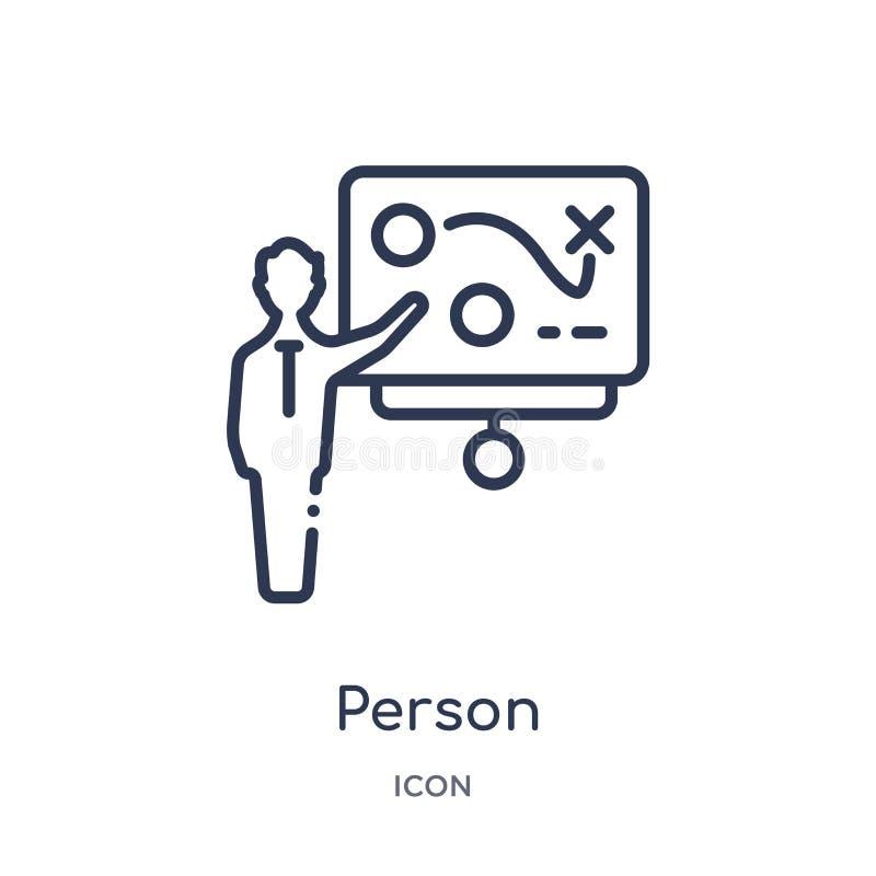 Lineare Person, die Strategie auf einem Brett mit einer Skizzenikone von der Geschäftsentwurfssammlung erklärt Dünne Linie Person stock abbildung