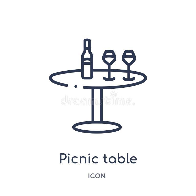 Lineare Picknicktischikone von der Getränkentwurfssammlung Dünne Linie Picknicktischvektor lokalisiert auf weißem Hintergrund Pic lizenzfreie abbildung